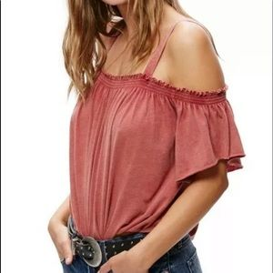 FREE PEOPLE SHORT SLEEVE COLD SHOULDER BLOUSE XS